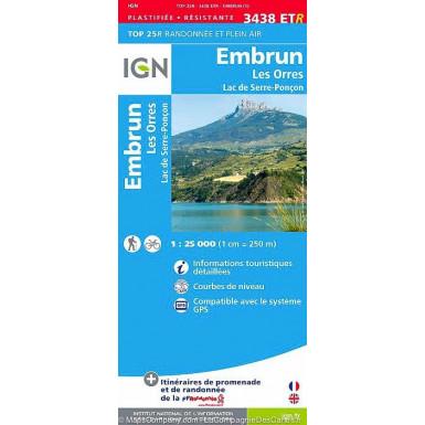Carte IGN Top 25 Embrun-Les Ores-Serre Ponçon